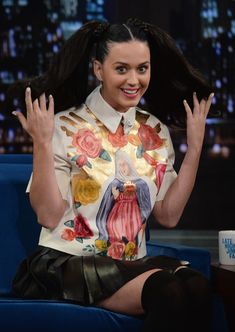 Katy Perry Print Blouse - Katy Perry appeared on 'Late Night with Jimmy Fallon' wearing a Virgin Mary blouse by House of Holland.