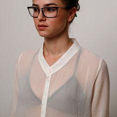 Women white sheer buttons blouse winter shirt par AndyVeEirn, $100,00