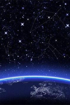 Blue planet earth with blue haze & stars.