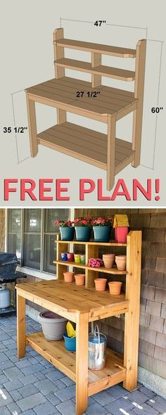 Create a great place for potting plants and gardening chores by building this tough, good-looking potting bench. This one is built from cedar to hold up to years of use outdoors. It looks so good that you might decide to use it as a serving station on your deck or patio, too. Get the free DIY plans at buildsomething.com