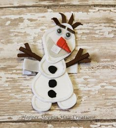 olaf bow | Olaf Snowman Disney Frozen Character Sculpture Ribbon Hair Clip Bow SO ...