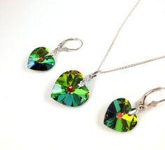 Green  Heart Swarovski Crystal Pendant Set by LittleBoxOfCrystals