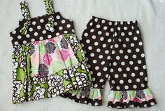 Boutique Apron Knot Top with RUFFLED PANTS Outfit For Infant Toddler Girl for Fall. $54.00, via Etsy.