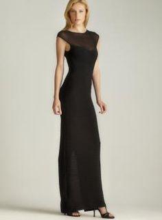 Calvin Klein Back Slit Sheer Top  Pintucked Dress