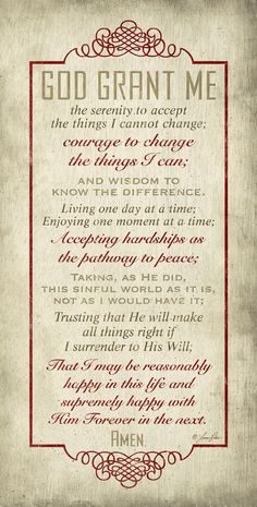 God Grant Me The Serenity Prayer, my grandmother had this one all through her house. One of my favorite prayers Serenity Prayer, Faith Prayer, My Prayer, Prayer For Broken Heart, Prayer For A Friend, Prayer Room, Bible Scriptures, Bible Quotes, Qoutes