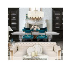 """""""High Fashion  Dining Room"""" by thewondersoffashion ❤ liked on Polyvore featuring interior, interiors, interior design, home, home decor, interior decorating, Currey & Company, Mirror Image Home, Safavieh and E. Lawrence, Ltd."""