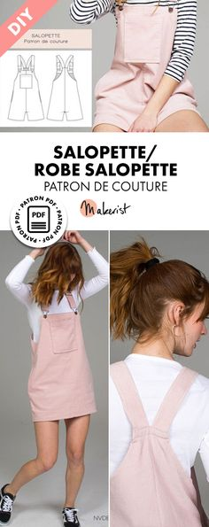 Patron de couture femme et fille – SALOPETTE / ROBE SALOPETTE- Perfect for spring and summer, the Salopette allows you to be free - Herren- und Damenmode - Kleidung Dress Sewing Patterns, Sewing Patterns Free, Free Sewing, Pattern Dress, Pattern Sewing, Clothes Patterns, Free Pattern, Sewing Projects For Beginners, Sewing Tutorials
