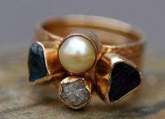 Three Stacking Rings Custom 14k Gold  Set With par Specimental, $2650.00