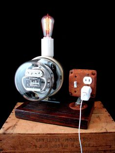 Charging Station Lamp Upcycled Vintage Electric by BenclifDesigns