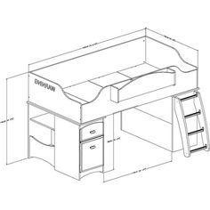 Imagine Storage Loft Kids Bed White (Twin) - South Shore : Target