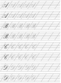 Calligraphy Worksheet, Calligraphy Tutorial, Calligraphy Drawing, Copperplate Calligraphy, Hand Lettering Tutorial, Calligraphy Practice, Calligraphy Handwriting, Calligraphy Alphabet, Penmanship