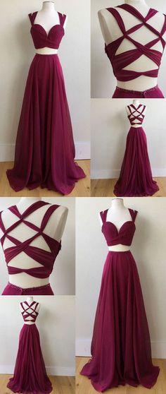elegant prom dress, 2018 long prom dress,  long two piece prom dress, burgundy long prom dress