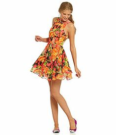 DILLARDS GB Sleeveless FloralPrint BarBack Dress #Dillards