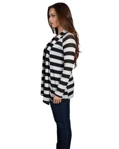 f6a5cae2f7dbe3 Stripes Galore Black and White Knit Jacket Knit Jacket, Types Of Fashion  Styles, Coats