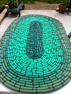 Recycled Hoses into Garden Mat DIY Garden Ideas