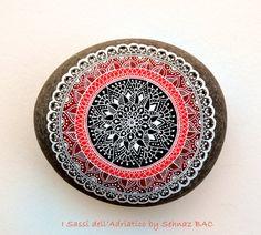 Hand Painted Stone Adriatic Sea Mandala by ISassiDellAdriatico