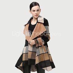ts damemode revers kontrol løs asymmetrisk længde hem uld frakke - EUR € 37.64