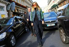 Natalie Hartley in a Louis Vuitton jacket Paris Fashion Week Street Style