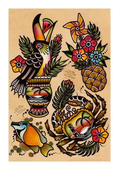These tattoo books convey the experience of several experts when it comes to crafting stunning tattoo designs and patterns. Tiki Tattoo, 1 Tattoo, Small Tattoo, Tattoo Sketches, Tattoo Drawings, Traditional Tattoo Filler, Traditional Tattoos, Tropical Flower Tattoos, Sailor Jerry Tattoos