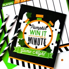 Grab your friends and host a hilarious fall game night with these Win it in a Minute Pumpkin Games! Get ready for some serious fast-paced pumpkin fun! Halloween Party Supplies, Halloween Games, Halloween Activities, Autumn Activities, Couple Halloween Costumes, Halloween Kids, Halloween Crafts, Halloween 2018, Pumpkin Games