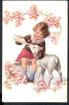 Young Girl feeding Lamb with bottle ~ Vintage Easter postcard