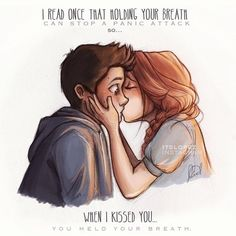 the first time i saw this drawing-before i knew what teen wolf was i fell in LOVE with it- i love this drawing. and now i know uts stiles and lydia, when lydia was saving him from his panic attack omg i love this even Cute Couple Drawings, Cute Couple Cartoon, Drawings Of Couples, Cute Couple Art, Cute Sketches Of Couples, Love Drawings For Her, Cartoon Drawings, Cartoon Art, Cartoon Kiss
