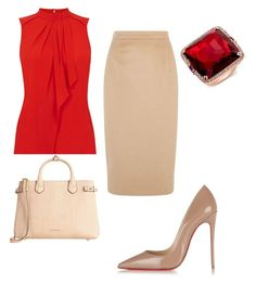 A fashion look from November 2015 featuring ruffle shirt, beige skirt and Christian Louboutin. Browse and shop related looks. Classy Work Outfits, Business Casual Outfits, Professional Outfits, Work Fashion, Skirt Fashion, Fashion Looks, Fashion Outfits, Polyvore Outfits, Polyvore Fashion