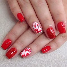Beautiful nails 2016, Beautiful shellac nails, Bright shellac, Fall nails 2016, Manicure by summer dress, Nails for September 1, Nails with flower print, Nails with red flowers