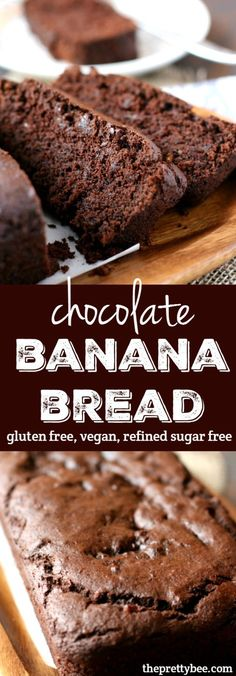 Bread (Gluten Free, Vegan, Refined Sugar Free) This chocolate banana bread is a healthier treat - it's refined sugar free!This chocolate banana bread is a healthier treat - it's refined sugar free! Sugar Free Desserts, Sugar Free Recipes, Dessert Recipes, Kraft Recipes, Paleo Dessert, Free From Recipes, Gluten Free Baking Recipes, Coconut Sugar Recipes, Appetizer Recipes