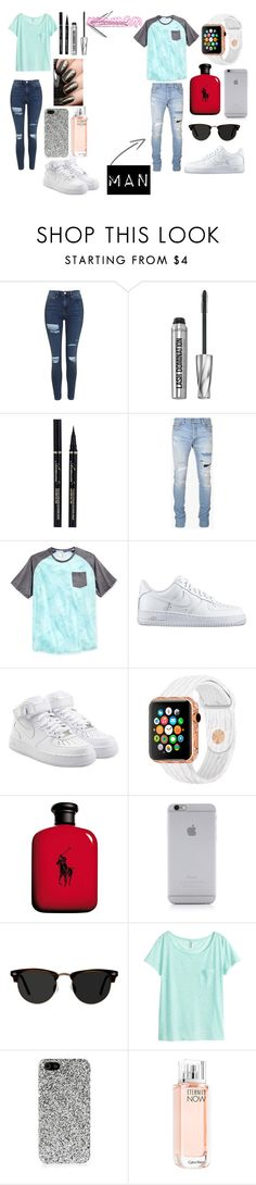 """Woman and Man"" by maria143sara ❤ liked on Polyvore featuring Topshop, Bare Escentuals, Balmain, Univibe, NIKE, Ralph Lauren, Native Union, Ace, H&M and Yves Saint Laurent"