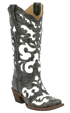 Corral® Ladies Antiqued Black w/ White Inlay Snip Toe Western Boot | Cavender's Boot City
