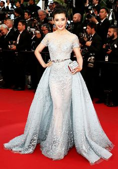 Blue is Trending at Cannes 2015. Best Dressed: Li Bingbing in Zuhair Murad Couture glamours pastel blue princess gown at 'The Sea Of Trees' Premiere Cannes Film Festival 2015. #Cannes2015