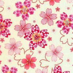 Tissu Japonais Kona Bay : Fleurs de Cerisiers en vente sur Avenue des Tissus