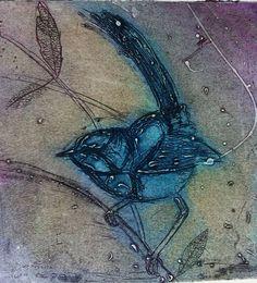 Fairy Wren collagraph