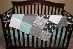 Navy Buck Gray Arrow and Herringbone Crib by DesignsbyChristyS