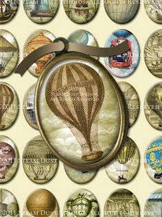 Antique Steampunk Hot Air Balloons - 30x40mm Cameo-Size Oval Images - Digital Collage Sheet - Download and Print. $3.90, via Etsy.
