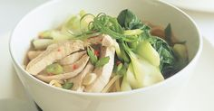 Asian Chicken Noodle Soup by Taste. Combine fresh Asian greens with chicken and noodles to create this winter warming soup. Hearty Winter Soup Recipe, Winter Soups, Winter Meals, Asian Chicken Noodle Soup, Asian Soup, Chicken Soup, Chinese Chicken, Asian Recipes, Healthy Recipes