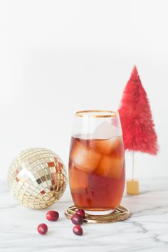 Berry Christmas Cocktail - Black Spiced Rum, Balsamic Vinegar, Cranberry Juice, Blackcurrant Pear Soda.
