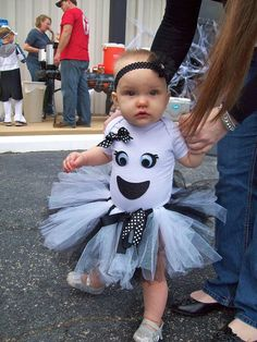 Items similar to Toddler Girl Ghost Costume with Tutu and Bow on Etsy