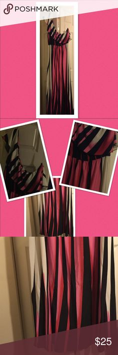 One Shoulder Beautiful Maxi  Gorgeous Pink, Black & White One Shoulder Long Maxi Dress  Ruffle at top for a touch of elegance  59' Shoulder to Bottom  EUC only worn once for a wedding Boutique Dresses Maxi