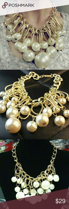 Nice Pearl Necklace Fashion Jewelry Hyperbole Chunky Necklace Simulated Pearl Necklace & Pendant for Women Choker Statement Necklace Jewelry Necklaces
