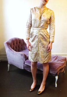 50s 60s Anne Klein Junior Sophisticates Mad Men, Anne Klein, Damask, Pink And Gold, 1960s, Formal Dresses, Floral, Vintage, Fashion