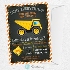 DUMP TRUCK CONSTRUCTION BIRTHDAY PARTY INVITATION – This dump truck invitation is perfect for your little diggers construction themed birthday party. Matching party printables sold separately. WHAT'S INCLUDED: • This listing is for digital files only. No items will be shipped. •
