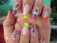 V Shellac Nail Designs, Neon Nail Designs, Pretty Nail Designs, Cute Pink Nails, Bright Nails, Pretty Nails, Spring Nails, Summer Nails, Nail Art For Girls