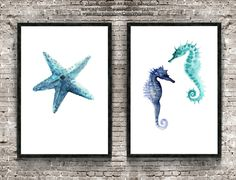Set of 2, Starfish & Seahorse, Watercolor Minimalist Painting, Sealife Home Decor, Oceanic Creatures Poster, Blue Nautical Art Prints by ColorWatercolor on Etsy