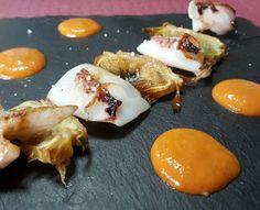 Sepieta de mar alcachofas y romescu en @bar_marvi