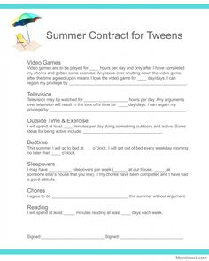 Summer Contract for Tweens; I like the inclusion of reading as an agreed avtivity.