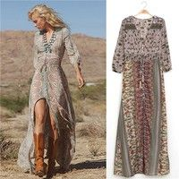 Item type: Women maxi dress Color: Multicolor Material: Polyester Feature: Half sleeve, Deep V-Neck