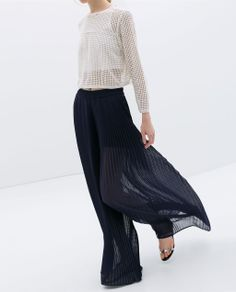 What a beautiful silhouette - Pleated Bell Bottom Trousers by Zara