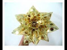 Moños flor dorada de navidad en cintas de organza - ribbons Christmas flower